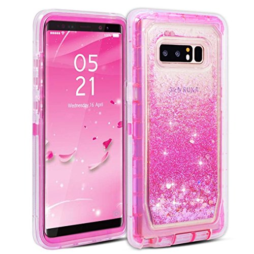 Galaxy Note 8 Case, Dexnor Glitter 3D Bling Sparkle Flowing Quicksand Liquid Bumper Clear 3 in 1 Shockproof TPU Silicone + PC Heavy Duty Protective Defender Cover for Samsung Galaxy Note 8 - Pink