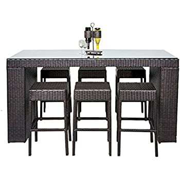 TK Classics 7 Piece Napa Bar Table Set with Backless Barstools Outdoor Wicker Patio Furniture