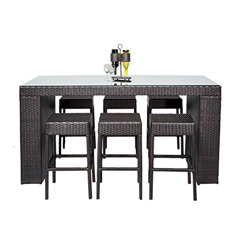 TK Classics 7 Piece Napa Bar Table Set with Backless Barstools Outdoor Wicker Patio Furniture (Napa Furniture Patio)