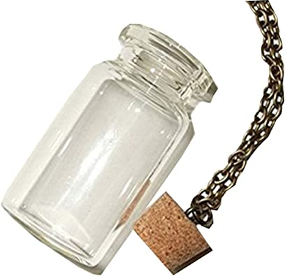 """empty,vial 19/"""" necklace and lobster clasp Wishing bottle pendant glass bottle"""
