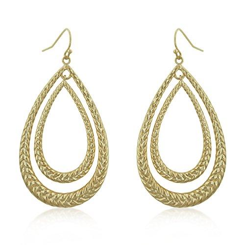 14k Gold Plated Double Woven Teardrop Dangle Earrings