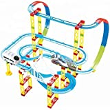 Kiditos DIY Self-Assemble Full Track Layout Bullet Train (105 Pcs) Battery Operated Train Track Set Toy