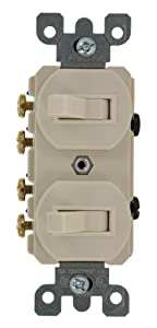 Leviton 5243 15 Amp, 120/277 Volt, Duplex Style Two 3-Way Combination Switch, Commercial Grade, Light Almond