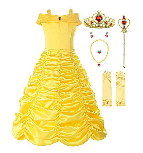 ReliBeauty Little Girls Layered Princess Belle Costume Dress up with Accessories, Yellow, 5-6/130