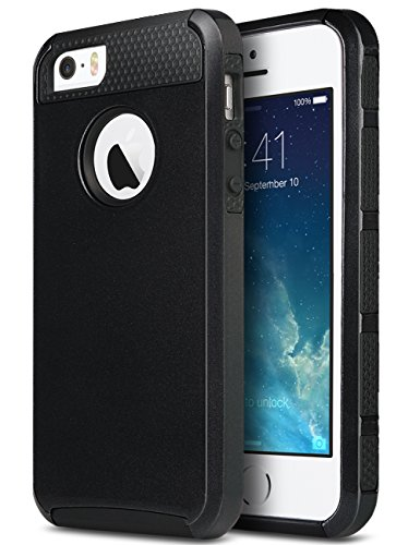 ULAK iPhone SE Case, iPhone 5S Case, iPhone 5 Case,Slim Fit Dual Layer Protection Case Shock Absorbing Hard Rugged Ultra Protective Back Rubber Cover with Impact Protection (Black)