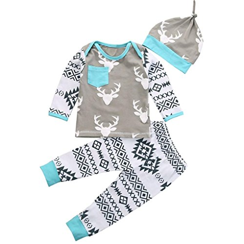Price comparison product image Gillberry Kid Baby Girls Boy Clothes Christmas Deer Romper+Pant Hat Outfit Set (Size:24M, Gray)