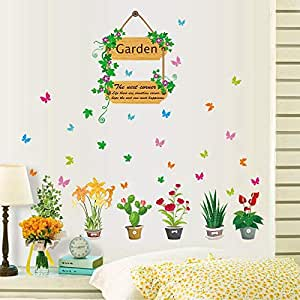 Fresh potted Wall Stickers For Living Room Home Decor DIY Removable Wall Decals