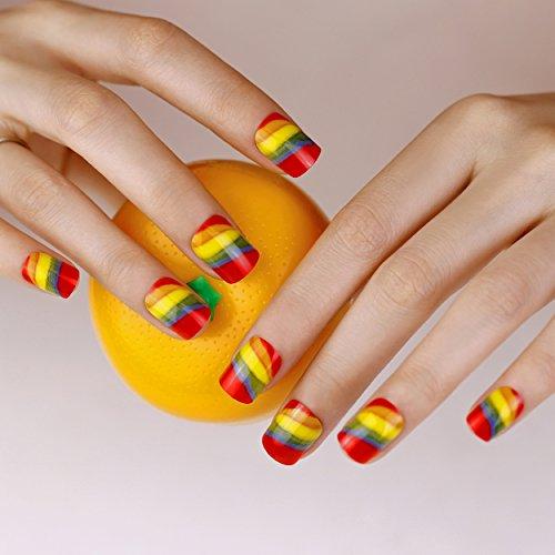 ArtPlus 24pcs Neon Rainbow False Nails with Glue Full Cover Medium Length Fake Nails Art