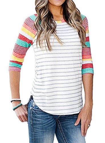 ANDUUNI Womens Striped Crew Neck 3 4 Sleeve Baseball T Shirts Casual Color Block Raglan Blouses Tunic Tops (Rainbow Stripe, M)