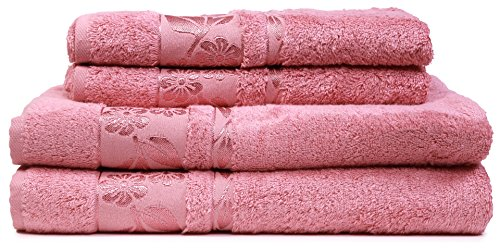 (HYGGE [4-Pack] Turkish Luxury Hotel & SPA Bamboo Towel Set with Floral Jacquard, Genuine Bamboo & Cotton for Maximum Softness; 2 Bath Towels (27