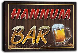 scw3-012224 HANNUM Name Home Bar Pub Beer Stretched Canvas Print Sign