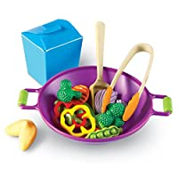 17-piece stir-fry play food kit is perfect for building young chefs' imaginations. Tongs, wok and to-go container complement food pieces to create a complete experience.