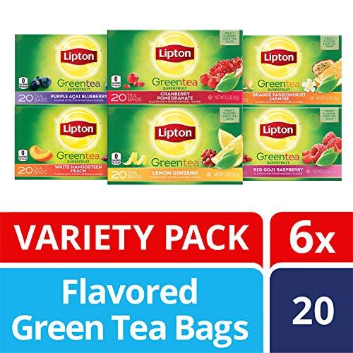 Lipton Green Tea Bags, Tea Variety Pack, 20 ct, Pack of 6