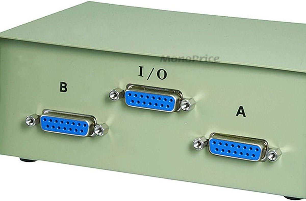 Kentek DB15 2 Way Manual Data Switch Box 15Pin I//O AB Female PC MAC Monitor MIDI