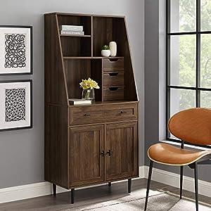 Walker Edison Secretary Hutch Wood Desk with Keyboard Drawer Bookshelf Home Office Storage Cabinet, 64 Inch, Dark Walnut…