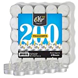 Ohr Tea Light Candles - 200 Bulk Pack - White Unscented Travel, Centerpiece, Decorative Candle - 4 Hour Burn Time - Pressed Wax - By