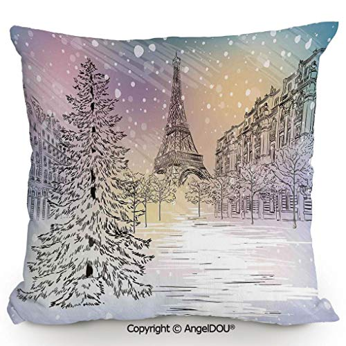 AngelDOU Back Cushion Nice Throw Pillow,Image of Stormy Winter Day in Paris Streets Eiffel Tower Europe Scene,Sofa Bed Head Waist Pillow Back car Waist pad.17.7x17.7 inches ()