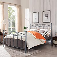 Pase Classical Matte Dark Grey Finished Iron Queen Bed Frame