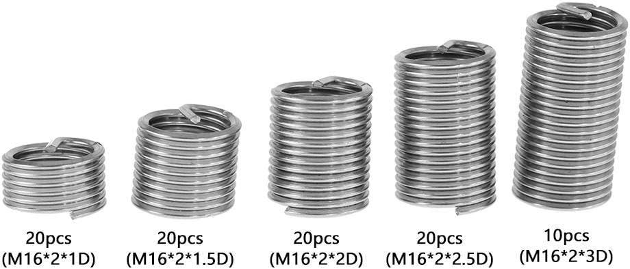 M16 Inserciones roscadas Akozon Insertos Roscados Roscas Helicoil SS304 de Acero Inoxidable M16*2 * 3 D, 10pcs
