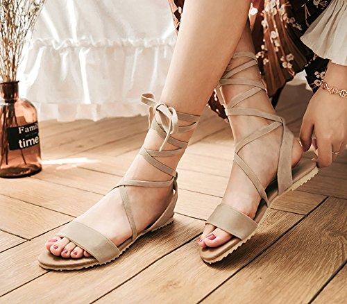 Aisun Womens Élégant Confortable À Bout Ouvert Habillé Gilly Cravate Cheville Plat Gladiateur Sandales Chaussures Beige