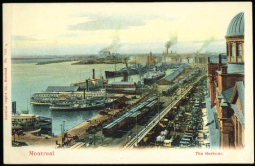 Paddlewheelers Montreal Harbor undivided back postcard 1900s