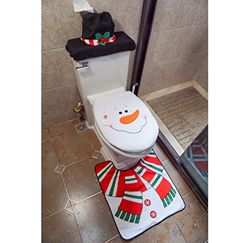 ShellKingdom Toilet Seat Cover and Rug Set Tank Lid Cover for Party Bathroom Sets(Snowman)