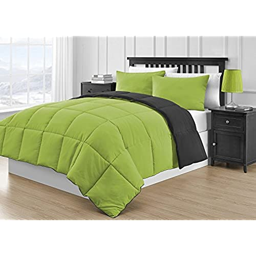 Comfy Bedding Reversible Microfiber Black U0026 Lime Green 3 Piece Comforter Set  (Queen, Black U0026 Lime Green)