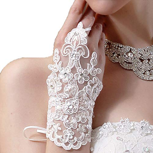M Bridal Women's Crystals Lace Fingerless Gloves for Wedding Party Brides Accessory G01 (Ivory)