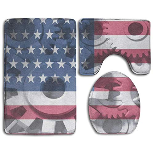 FunnyToiletLidCoverBB Bathroom Anti-Skid Pad Economy Symbol American Flag Abstract Prints 3 Piece A Set of Toilet Rug Mat Lid Cover