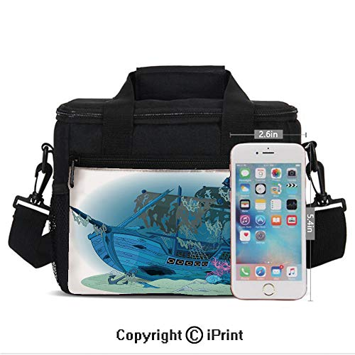 Buccaneers Freezer - Portable Insulated Cold Sunken Old Wrecked Buccaneer Vessel Antique Aquatic Underwater View Decorative Print Picnic Carry Case Thermal Lunch Bag,Blue Almond Green Pink