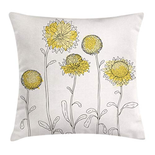 """Ambesonne Yellow Flower Throw Pillow Cushion Cover, Hand Drawn Style Sunflowers on Twigs Petals Growth Botany Summertime, Decorative Square Accent Pillow Case, 20"""" X 20"""", Yellow Black"""