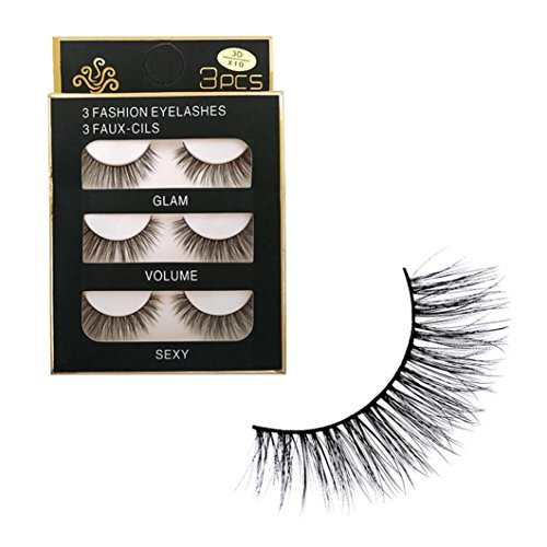 Women's 3Pair False Eyelashes, Iuhan 3D Soft Long Natural Eye Lashes Makeup Thick False Eyelash Extension (Dramatic Eyeliner For Halloween)