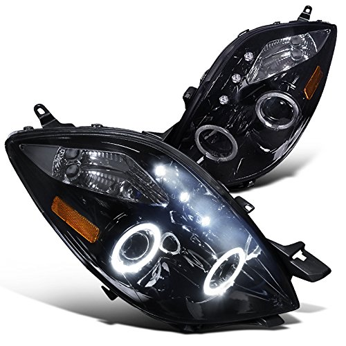 Spec-D Tuning 2LHP-YAR063G-TM Toyota Yaris 3 Door Hatchback Glossy Black Halo Led Projector - Door Yaris 4 Hatchback