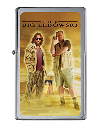 The Big Lebowski Dude Walter Flip Top Lighter Brushed Chrome with Vinyl Image.