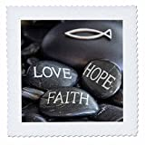 3dRose Andrea Haase Still Life Photography - Black Pebble Engraved, Love Faith Hope - 16x16 inch quilt square (qs_268541_6)