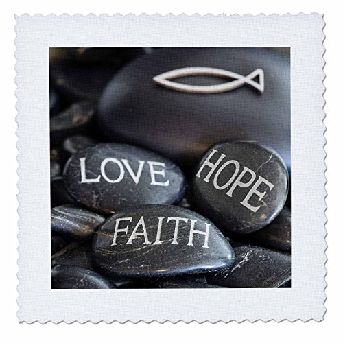 3dRose Andrea Haase Still Life Photography - Black Pebble Engraved, Love Faith Hope - 25x25 inch quilt square (qs_268541_10) by 3dRose