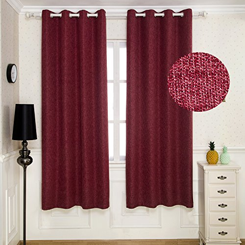 BGment Linen Blackout Curtains 63 Inch Length- Thermal Insulated Room Darkening Window Drapes For Living Room, Grommet Design, 52x63 Inch Red