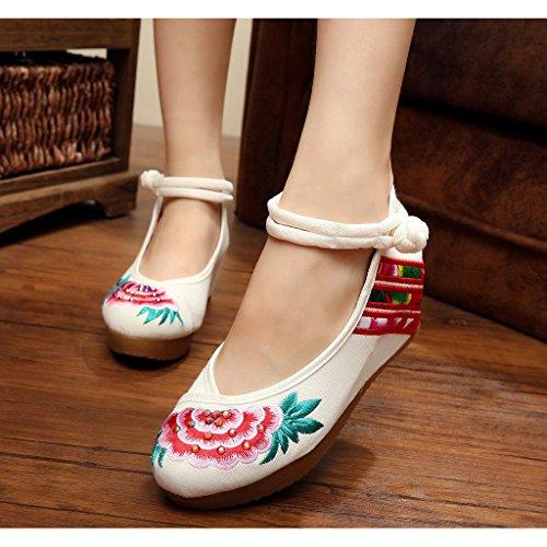 Eagsouni® Damen Frauen Chinese Floral Shoes Baumwolle Bestickte Stickerei Ballerina Mary Jane Keilabsätze Frenulum Schuhe Weiß
