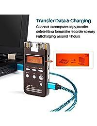 Digital Voice Activated Recorder Dual HD Grabación estéreo de micrófono dinámico reducation de ruido por evistr, 8 g Grabador de sonido portátil con reproducción y MP3 reproductor de música Negro