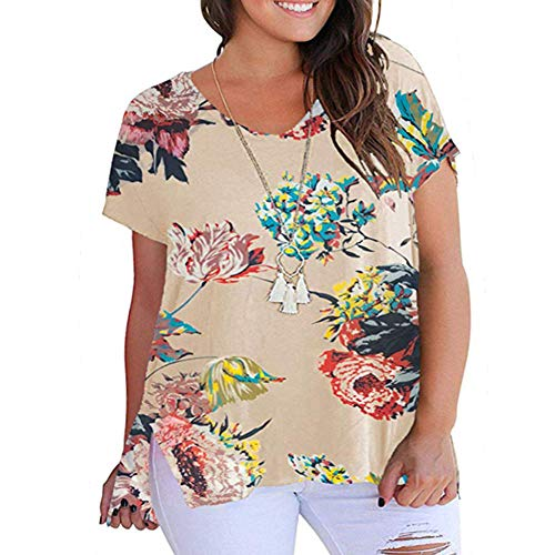 YASAKO Womens Plus Size Tops V Neck Floral Print Casual Striped Shirts with Side Split Loose Tees Apricot 2XL