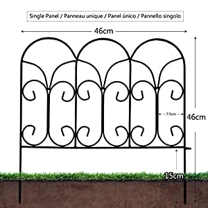Amagabeli 18In x 7.5ft Decorative Garden Fence Metal Panels Outdoor Rustproof Landscape Wrought Iron Wire Border Fencing…