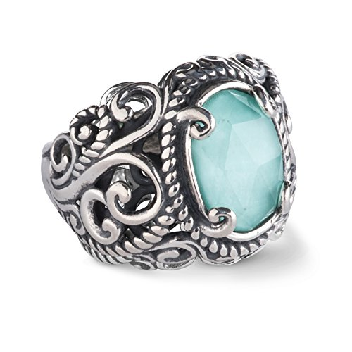 Carolyn Pollack Sterling Silver Turquoise Gemstone Crystal Quartz Doublet Ring Size 10