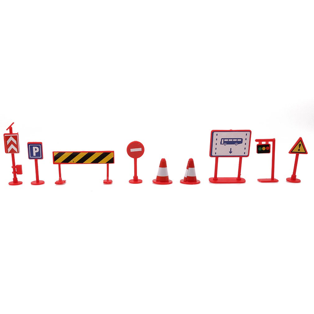 SEVENHOPE 9 Stücke Verkehrszeichen Modell Spielzeug DIY Mini Wegweiser Ampel Verboten Zeichen Bau Straße Bar Lernspielzeug (rot) DABO
