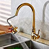 FZHLR Kitchen Faucet Brass Black ∕Chrome∕Nickel Brushed∕Gold High Arch Kitchen Sink Faucet Pull Out Rotation Spray Mixer Tap,Golden