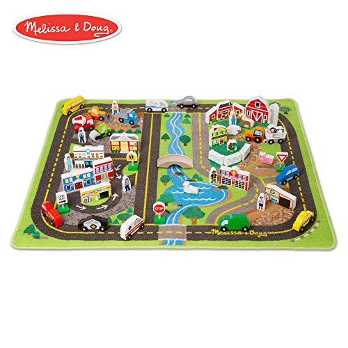 (Melissa & Doug Deluxe Activity Road Rug Play Set with 49 Wooden Vehicles and Play Pieces)