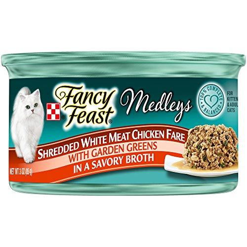 Fancy Feast Elegant Medley`s Shredded White Meat Chicken Fare w/ Garden Greens Canned Cat Food 24 - 3oz Cans