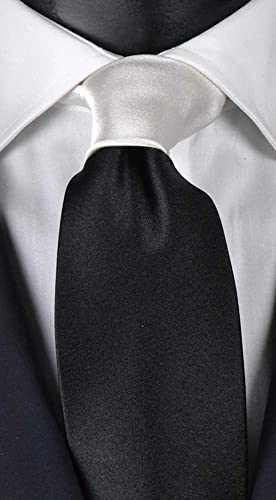 Graffeo corbata de hombre negra de raso con nudo en contraste ...