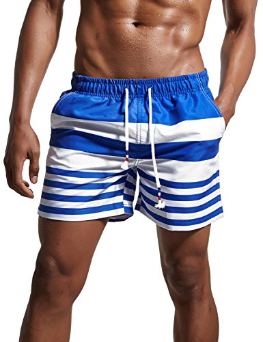 ChinFun Men's Swimsuit Loose Fit Swim Trunks Watershort Swimwear Drawstring Stripes Board Shorts Bathing Suits Mesh Lining Side Pockets Blue Size (Microfiber Mens Running Short)