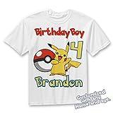 Ash and Pikachu Birthday Shirt. Pokemon Personalized Birthday Shirt with Name and Age, pokemon birthday shirt BOY or GIRL shirt