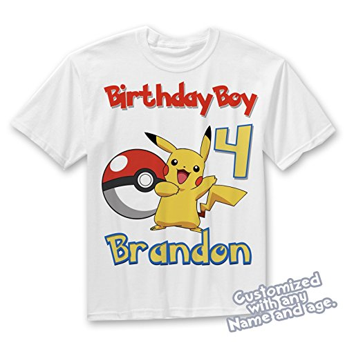 Ash and Pikachu Birthday Shirt. Pokemon Personalized Birthday Shirt with Name and Age, pokemon birthday shirt BOY or GIRL shirt by Party Style Store